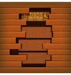 restaurant menu wooden frame break vector image
