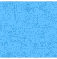 Birthday Blue Line Seamless Pattern vector image