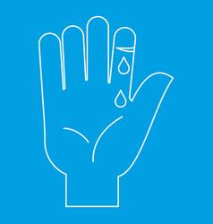 Bleeding human thumb icon outline style vector