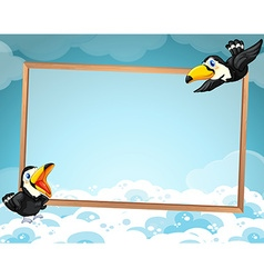 Border design with two toucans flying vector image vector image