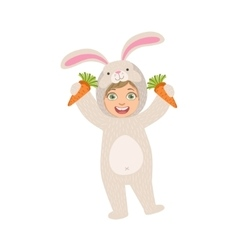 By holding carrots in rabbit animal costume vector