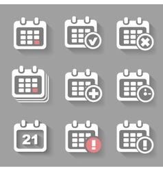 Calendar icons- event add delete progress white vector
