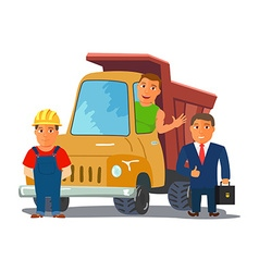Cartoon businesman with truck driver and builder vector