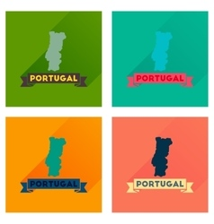 Concept flat icons with long shadow portugal map vector