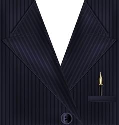 dark suit and golden pen vector image vector image
