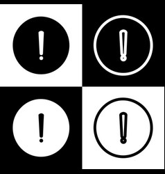 Exclamation mark sign black and white vector