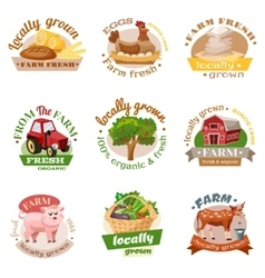 Farm flat emblem set vector
