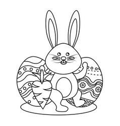 Figure rabbit easter with decorated eggs and vector