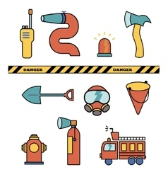 Fire-fighter elements set collection icons vector image vector image