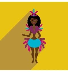 Flat web icon with long shadow brazilian dancer vector