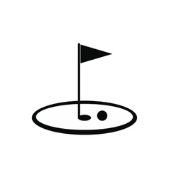Golf flag black simple icon vector image vector image