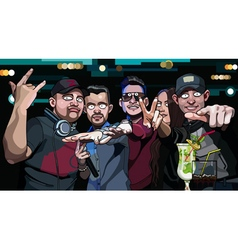 Group of guys and a girl in a nightclub vector