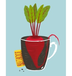Growing Beetroot with Green Leafy Top in Mug vector image vector image