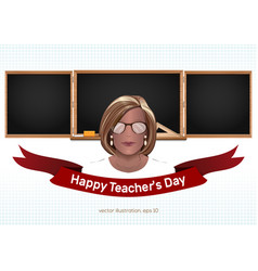 Happy teachers day greeting card vector
