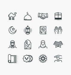 Islamic line art icons set vector