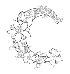Letter C coloring book for adults vector image vector image