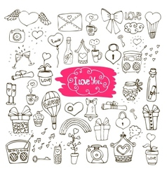 Love doodle icons vector