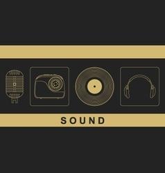Microphone radio vinyl disc headphones vector image vector image