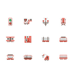 Rail freight transportation flat icons vector