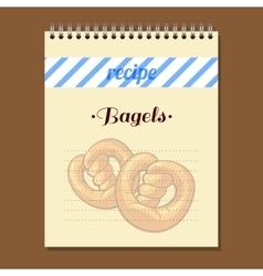 Recipe book bagels vector