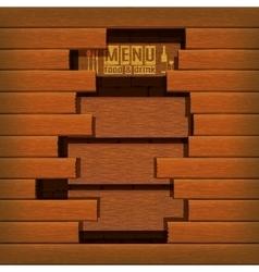 restaurant menu wooden frame break vector image vector image