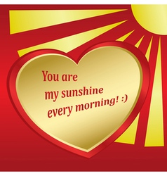 romantic card with sun and heart vector image vector image