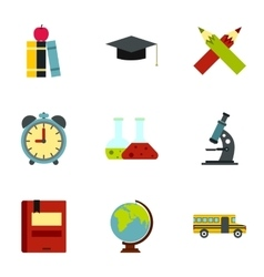 Schooling icons set flat style vector