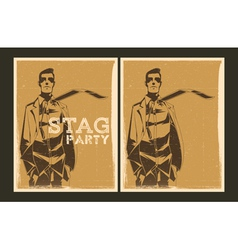 Set of stag party posters vector