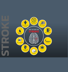 stroke risk factors icon design infographic vector image vector image