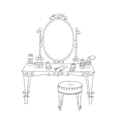 Vanity table with makeup and a chair vector