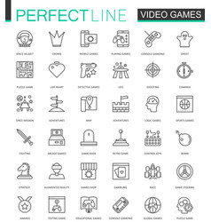 Video games thin line web icons set mobile game vector