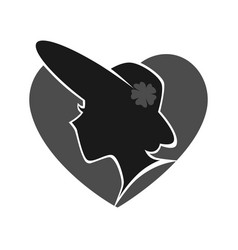 Woman in hat silhouette against grey heart on vector