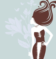 women -silhouette florals vector image vector image