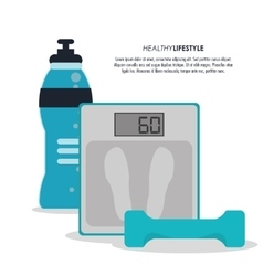 Scale weight and bottle icon fitness design vector