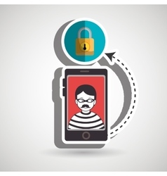 Cellphone hacker app icons vector