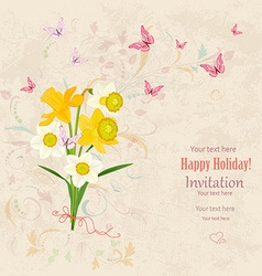 Lovely bouquet of white and yellow daffodils with vector