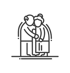 Elderly couple - line design single isolated icon vector