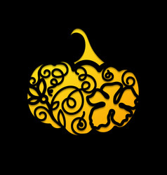 laser cutting template pumpkin for halloween vector image