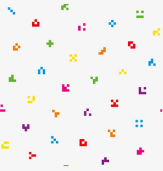 Multicolor abstract pixelated icons seamless vector