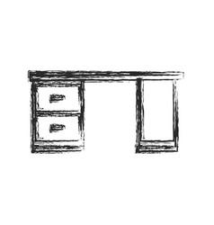 desk furniture work sketch vector image