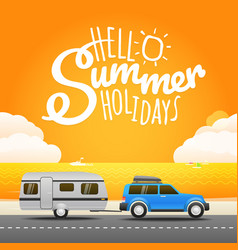 vacation travelling concept flat design hello vector image