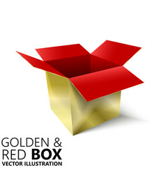 Red and golden open box 3d design vector