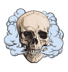 Smoke coming out of fleshless skull death mortal vector