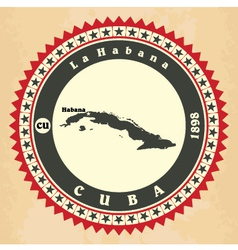 Vintage label-sticker cards of cuba vector