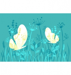 Moths and grass vector