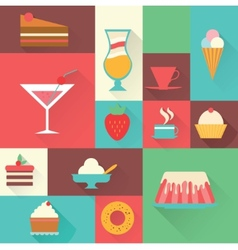 Icons sweet dessert vector