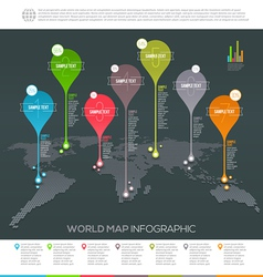 World map infographic with map pointers vector