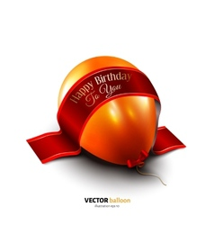 Birthday balloon with satin ribbon isolated on vector