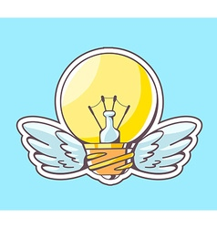 Yellow lightbulb with wings flying on blu vector