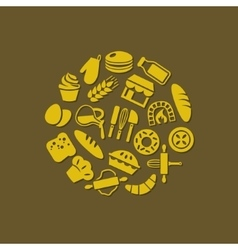 Bakery icons in circle vector